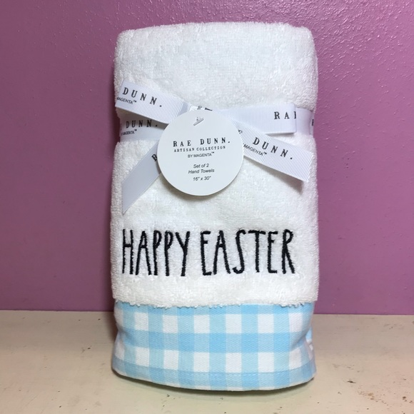Rae Dunn NEW Happy Easter Blue White Towel 2pc Set